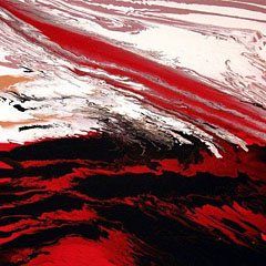 Raudona ir juoda spalvos paveiksle